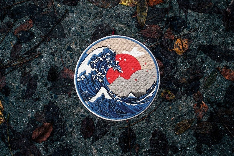 The Great Wave Patch 3  Embroidered  Sew On  Ocean image 0