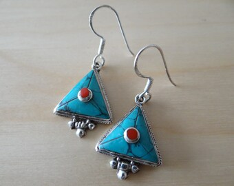 Earrings turquoise and coral