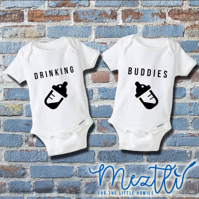 37a41a977 Drinking Buddies Onesie® Set Spanish Onesies® Hip Hop Baby   Etsy