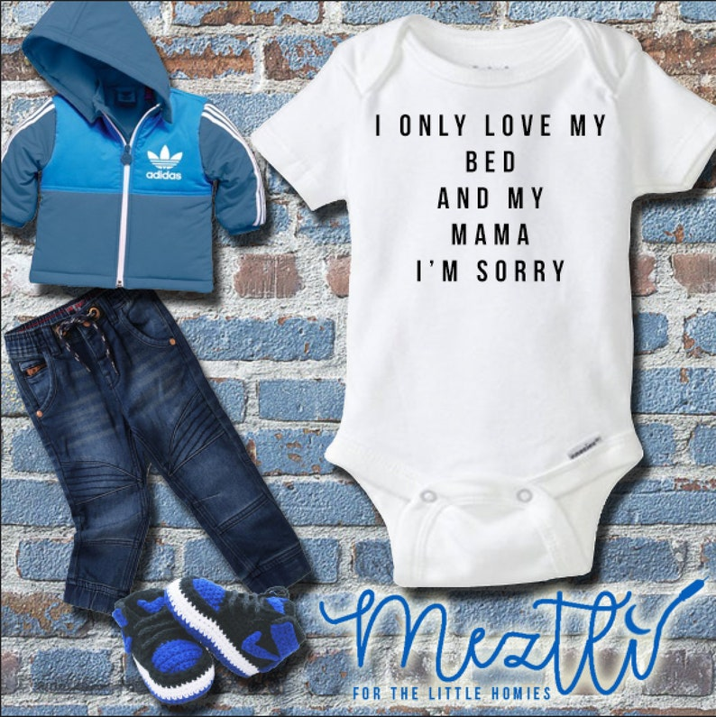 Baby Shower Gift Hip Hop Baby Clothes Unisex Bodysuit Hip Hop Onesies\u00ae I Only Love My Bed and My Mama Onesie\u00ae Rap Music