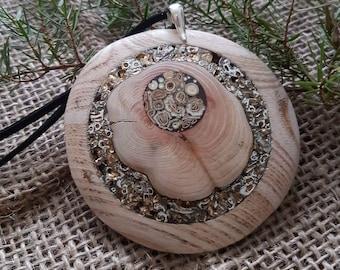 Wooden pendant - oak, juniper wood with herbal, sea shell inlay