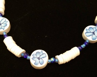 Puka Shell & Fimo Flower Necklace