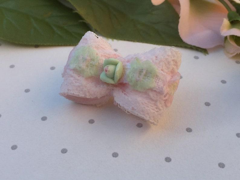 watermelon green red gingham summer 58 single loop Mo/'s USA Dog Bow Yorkie Maltese Shih Tzu bow+