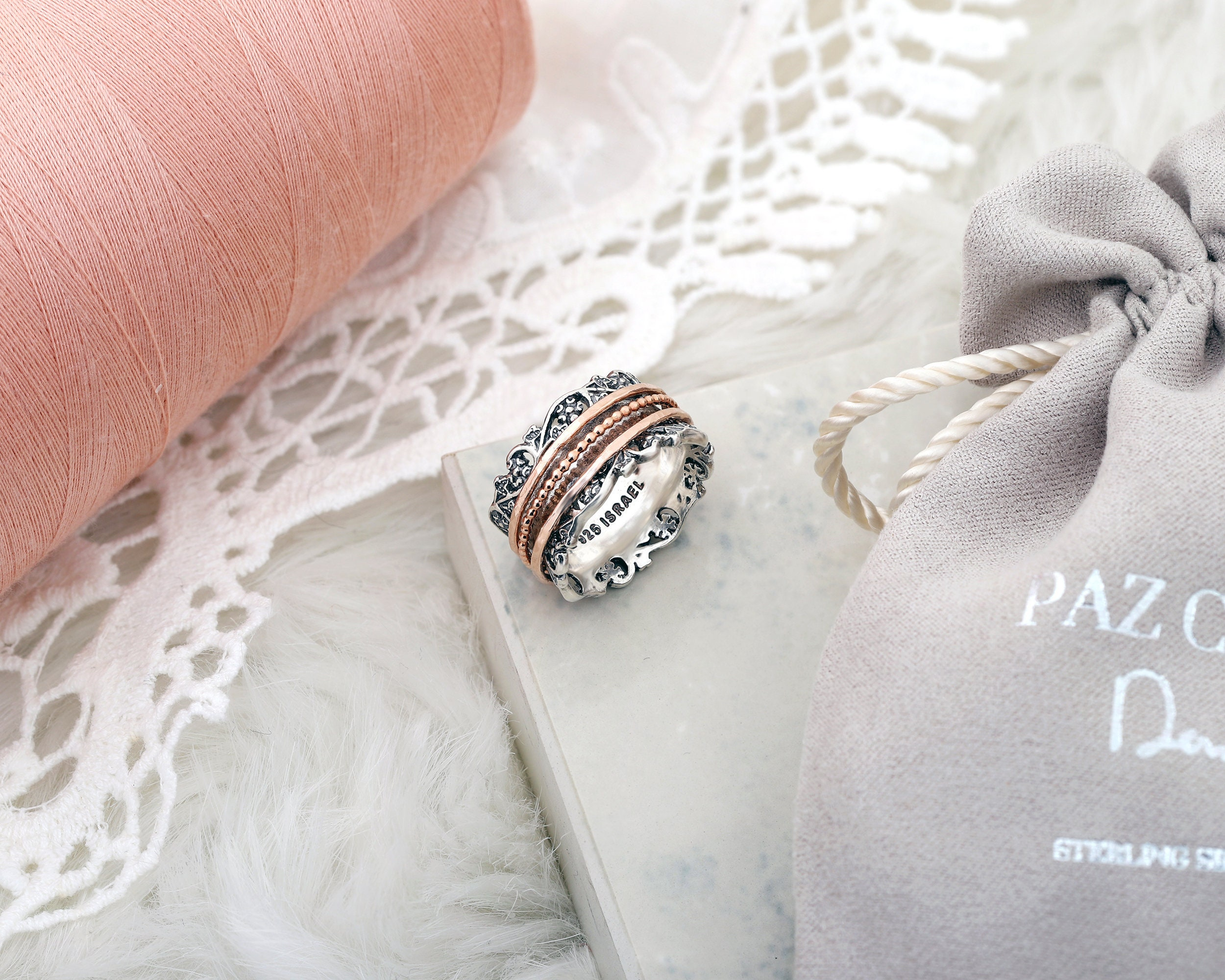 01803857ec283 Sterling Silver Meditation ring - Stress Reliever Gift -Vintage Art Deco  Engagement Ring - Rose Gold over Silver