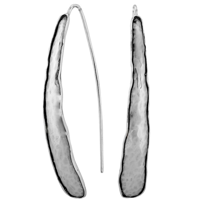 Long Earrings Sterling Silver Hammered Threader Earrings