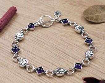 Silver Gemstone Bracelet |PazCreationsJewelry|- Flower Links- Gemstone link Bracelet- Natural Stone- Everyday Bracelet-  Floral Bracelet