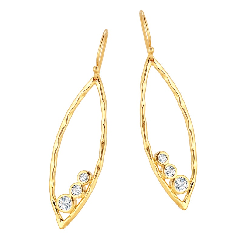Gold plated Cubic zirconia Earrings Silver Marquise Earrings