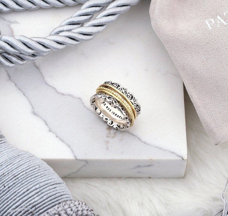 031739a6788e9 Sterling Silver Meditation Spinner Ring - Celtic Wedding Rings - Yellow  Gold over Silver - Vintage Art Deco Lace Textured Anxiety Ring