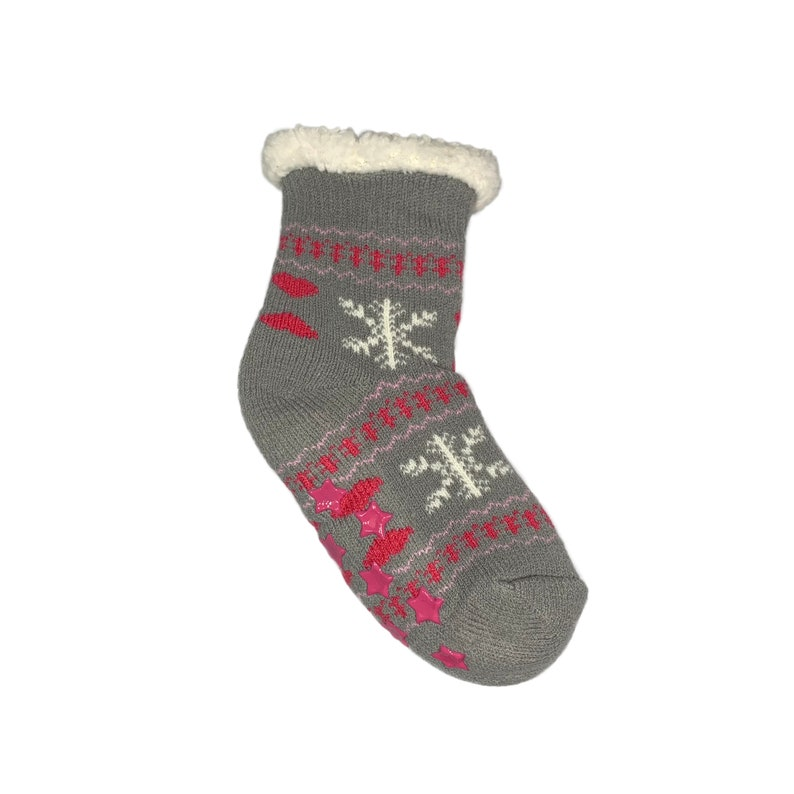 f0774ed2dc28d Gray Slipper Socks for Kids | Fluffy Fleece Lined Socks for Kids | Burgundy  Fuzzy Socks | Age 3-6