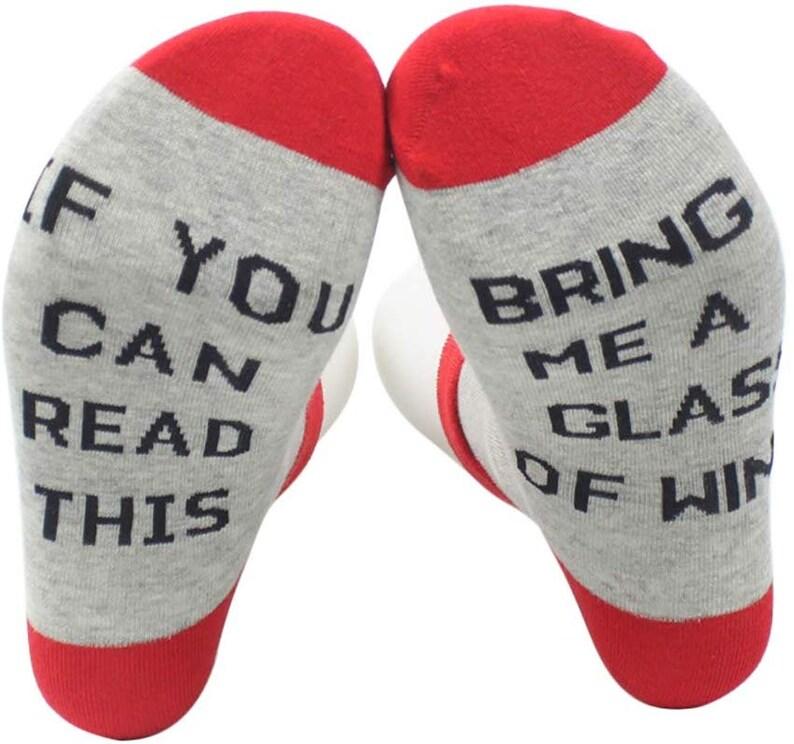 Winter Short Socks If you can read this Bring Me A Glass Of Wine Socks Party socks Christmas Socks Unisex Funny Socks Letter socks