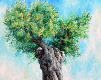 Olive tree oil painting Green Tree canvas wall art Vertical canvas art Large Nature canvas 30x40 Original oil painting on canvas