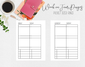 Weekly Planner Inserts for Pocket Ring Sized Week on 4 Pages