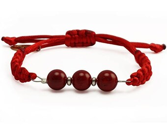 Red Bracelet, Red beaded coral bracelet, Gift for friend