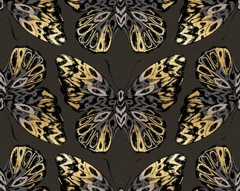 BTY Moda Ruby Star Society RSS Tiger Fly Noir Black Gold Metallic Cotton Linen Blend Canvas Fabric Yard RS2016-17LM