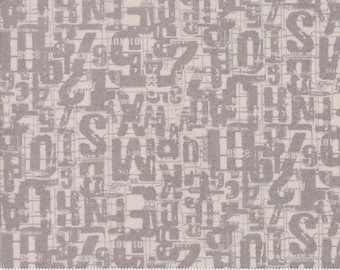 BTY Moda Compositions Number Jumble BasicGrey Modern Background Taupe Beige Grey Gray Writing Low Volume Cotton Fabric Yard 30453-14