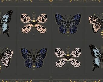 BTP Moda Ruby Star Society RSS Tiger Fly Sarah Watts Gossamer Ash Grey Teal Blue Butterfly Moth Metallic Gold Panel Fabric RS2012-14M