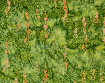 BTY Batik Textiles Galapagos Moss Green Orange Rust Bubbles Seaweed Mottled Cotton Batik Fabric Yard 5323