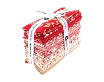 NEW Andover Little Sweetheart Floral Edyta Sitar Laundry Basket Quilts LBQ Cream Pink Red Beige 22 Fat Eighths F8 Fabric Bundle