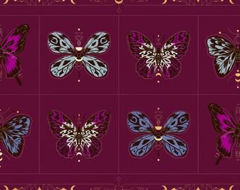 BTP Moda Ruby Star Society RSS Tiger Fly Sarah Watts Gossamer Puprle Teal Blue Butterfly Moth Metallic Gold Panel Fabric RS2012-12M