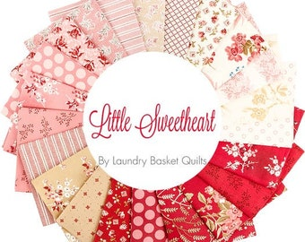 NEW Andover Little Sweetheart Floral Edyta Sitar Laundry Basket Quilts LBQ Cream Red Pink Beige 22 Fat Quarter FQ Fabric Bundle
