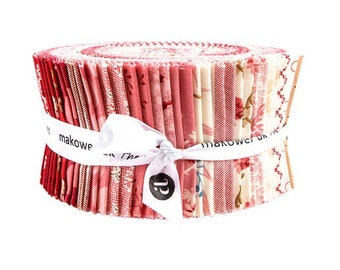 NEW Andover Little Sweetheart Laundry Basket Quilts Edyta Sitar LBQ Cream Ecru Red Pink Tan Beige 2.5 in Fabric Strips Jelly Roll Strips