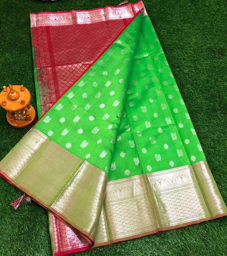 4f0a102ae5 Kuppadam Pattu Saree with Blouse Material Kuppadam Silk Sari | Etsy