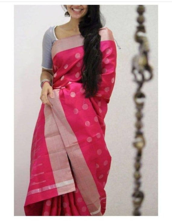 f352d101aa Pink Soft Silk Designer Saree with Blouse Material Handwoven | Etsy