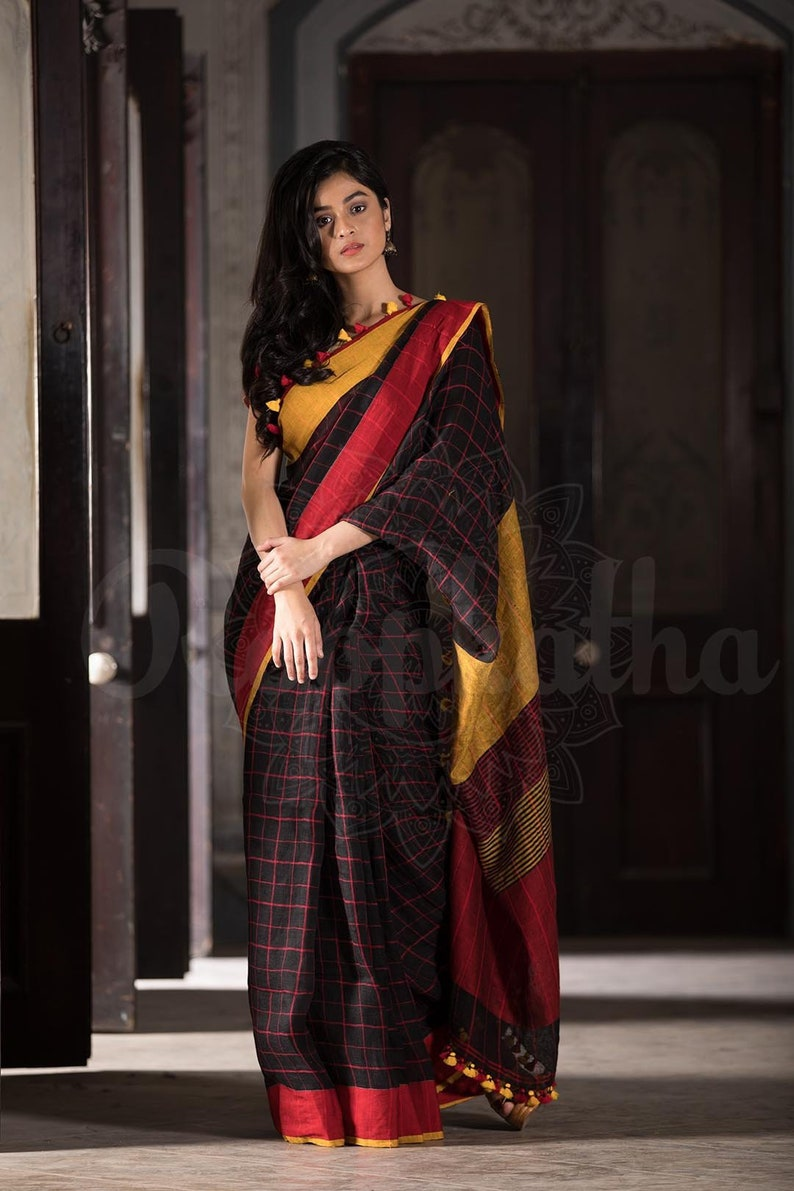 db0dd7151ecd9c Black Check Organic Linen Saree with Dual Tone Border and