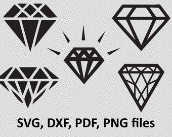 Diamonds SVG/ Diamonds DXF/ Diamonds silhouette Clipart/ Svg Files, printing design, cutting, png, pdf, DXF, diamonds vector, diamond, gem