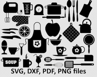 Kitchen SVG - Kitchen Kitchen Clipart - Kitchen Cut Files - Cooking Utensils DXF - Spoon Spatula Rolling Pin, kitchen bundle