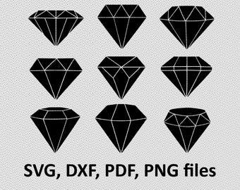 Diamonds SVG/ Diamonds DXF/ Diamonds silhouette Clipart/ Svg Files, printing design, cutting, png, pdf, DXF, diamonds vector, diamond svg