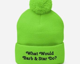 BARB AND STAR Pom Pom Beanie, Barb and Star Go To Vista Del Mar,Pink Beanie,Kristen Wiig,Barb and Star Movie,Barb and Star Hat,2021
