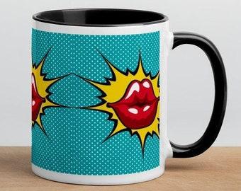 Kiss Me Darling Lips Mug, Pop Art, Christmas Gift, Birthday Gift for Best Friend, Sister, Brother, Husband, Wife, Funny Mugs for Women