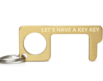 Let's Have a Kiki Engraved Brass Touch Tool, Avoid Touching, Use to Open Doors, Push Buttons, Pull Objects COVID-19 Safe