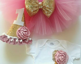 Choose Color,Cake smash outfit,Pink tutu,pink gold baby outfit,bow tutu,girls tutu,first birthday tutu set,baby girl first birthday outfit