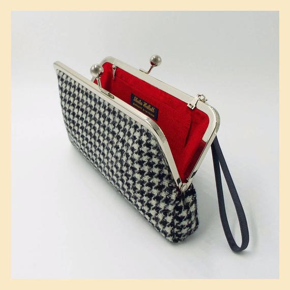 Houndstooth Genuine Leather Small Framed Wallet Personalized