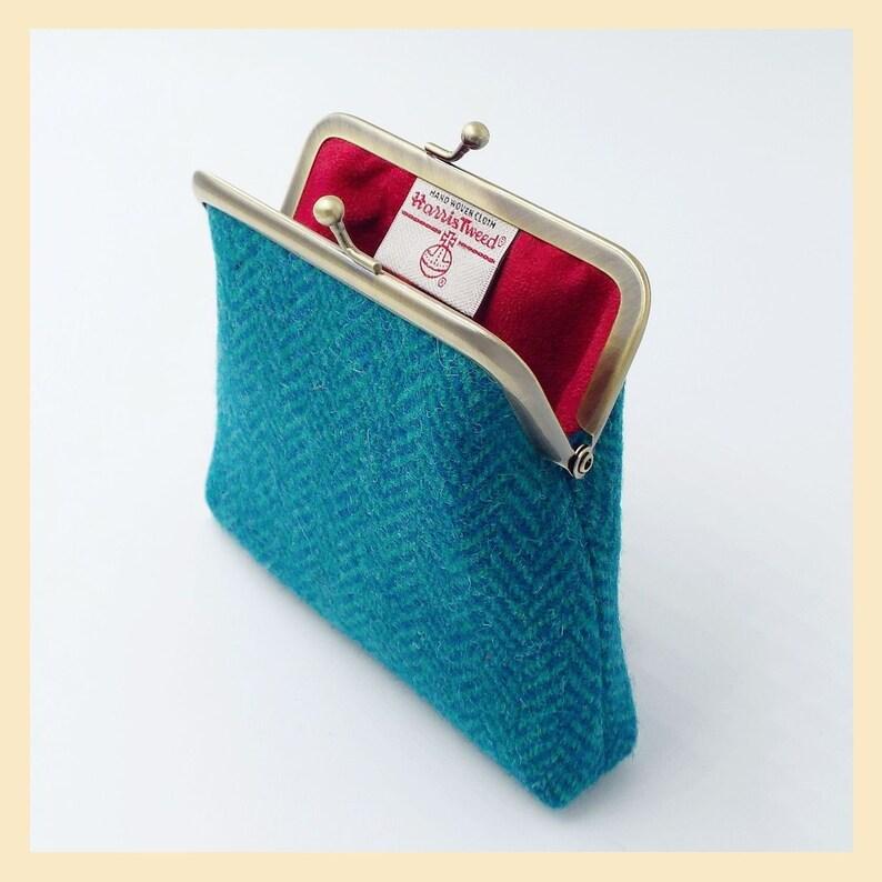 teal and turquoise herringbone purse handmade in Scotland Harris Tweed purse