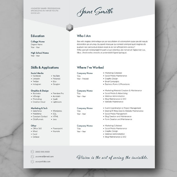 Resume Template, CV Template, Adobe InDesign, CV Design, Marketing,  Creative, Graphic Design Resume Template, Modern, Instant Download