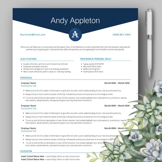 Clean Modern Professional Monogram Cv Resume Template For Microsoft Word With Free Bonus Cover Letter Entry Level Instant Download Blue