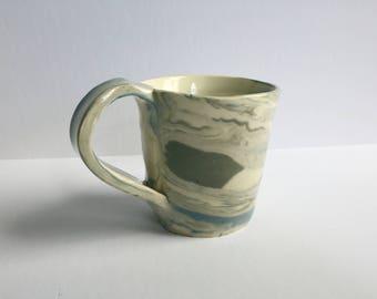 Color Clay Coffee Mug - Handmade Ceramics + Pottery - White/Gray/Blue Clay Body - 5115Design