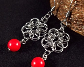 Red Coral Chainmaille Earrings