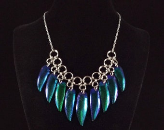 Blue Elytra Beetle Wing Chainmaille Collar Necklace