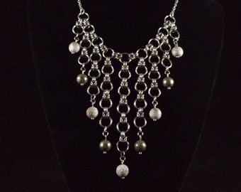Byzantine Chainmaille Collar with Pyrite and Druzy Quartz