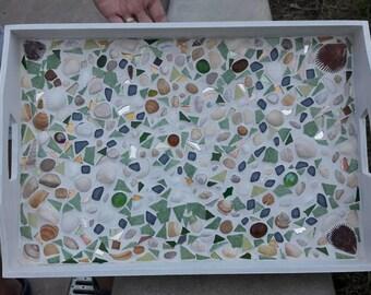Mosaic shells glass decorative tray