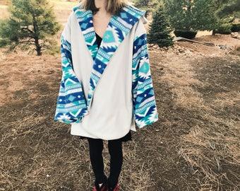 Tribal Blue Fleece Coat