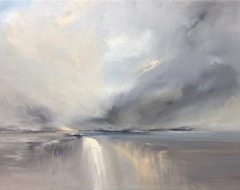 "Seascape painting 'Calm will Follow' by Jo Payne, acrylic on box canvas, 16""x12"""
