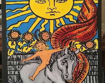 Hand Painted Tarot Card on Canvas, The Sun