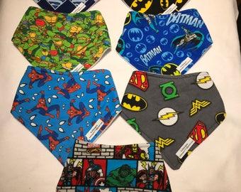 Children's aged 3 plus super hero bandana bibs