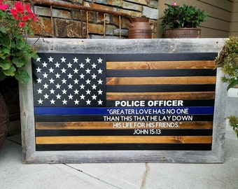 Blue Line Flag Police Officer Flag John 15:13 Framed Flag Rustic Flag Wood  Flag Rustic Blue Line Barn Wood Frame