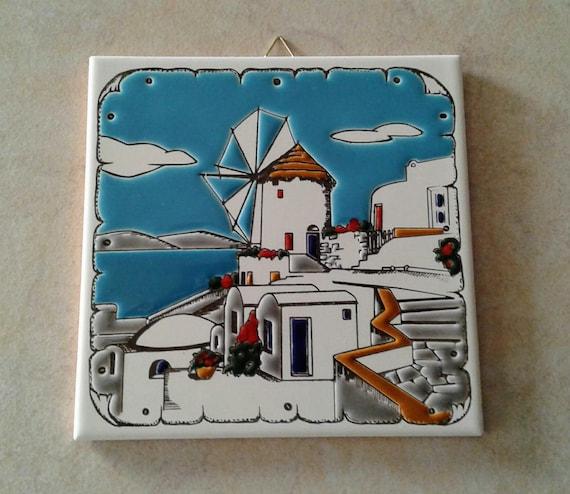 Handmade ceramic landscape   art tile